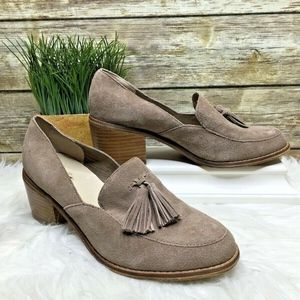 Seychelles Descent Taupe Brown Suede Leather Heels